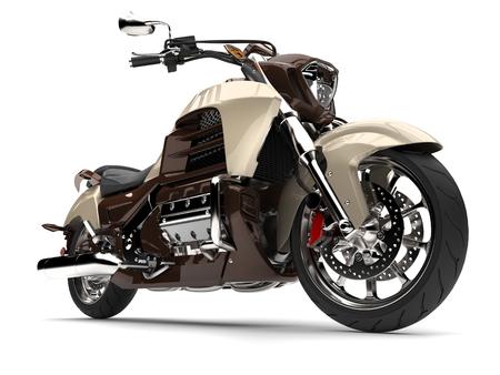Cool metallic chocolate modern powerful chopper bike - low angle epic shot