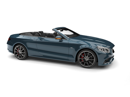 Mystic blue modern luxury convertible car