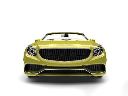 Metallic sheen green modern luxury convertible car - front view closeup shot 스톡 콘텐츠