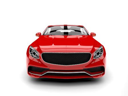 Beautiful red luxury modern convertible car - front view