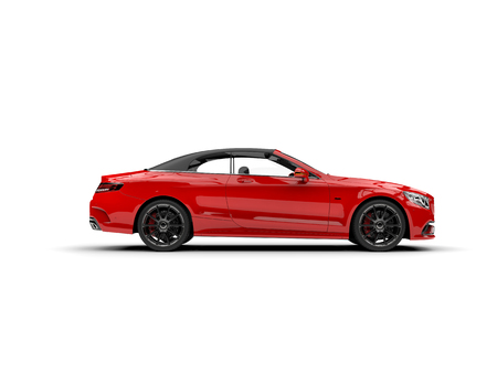 Beautiful red luxury modern convertible car - side view