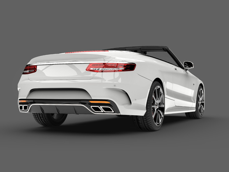 Angel white modern luxury convertible car - low angle back view