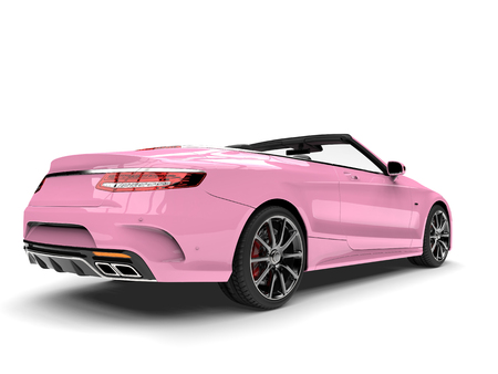 Pretty pink modern luxury convertible car - back view