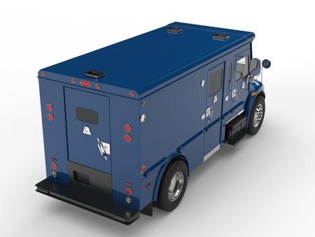 Blue armored transport van - top down back shot