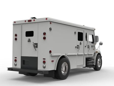 White armored transport van - back view shot