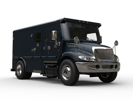 Dark slate gray armored transport car Stock Photo