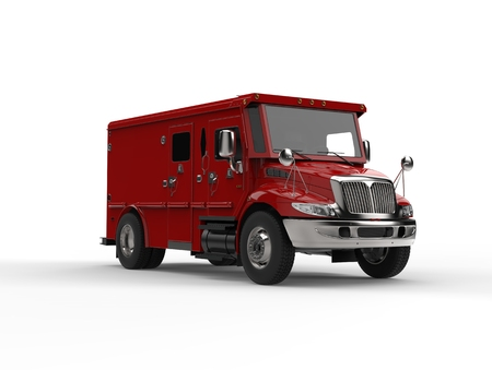 Red armored transport truck 스톡 콘텐츠