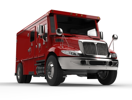 Red armored transport truck - front closeup shot Stock Photo