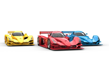 Modern super sport race cars in red, blue and yellow Stock Photo