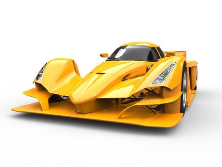 Burning yellow modern super sports car - closeup shot