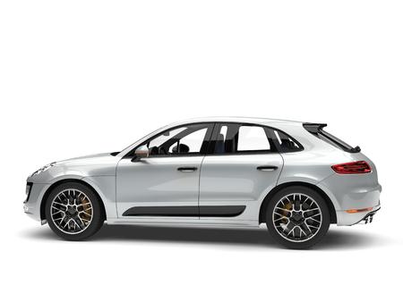 Silver metallic modern family car - rear side view