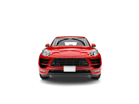 Modern scarlet red family car - front view