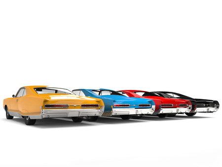Beautiful vintage cars in black, red, blue and yellow colors - tail view