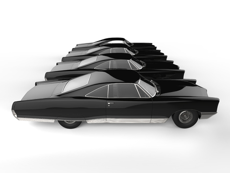 Row of awesome black vintage car - side view