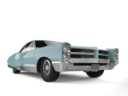 Pastel blue vintage car - low angle front view shot Reklamní fotografie