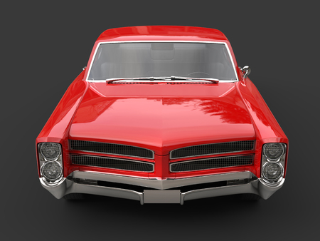 Storm red vintage car - front view Stock Photo