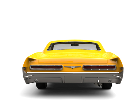 Awesome sun yellow vintage car - back view Banco de Imagens - 100139768