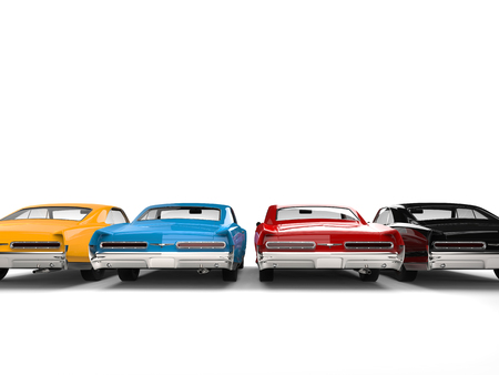 Beautiful vintage cars in black, red, blue and yellow colors - back view
