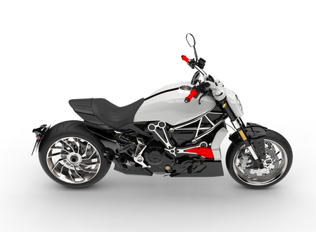 Base white modern powerful motorcycle - top down side view Stock Photo