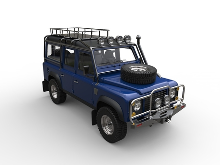 Dark blue off road vehicle