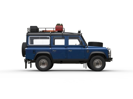 Blue off road vehicle with all equipment - side view Stock Photo