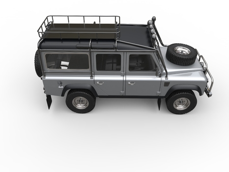 Silver metallic off road four wheel drive vehicle