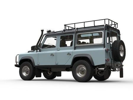 Pale blue off road vehicle - side view