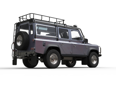 Blue metallic silver modern off road vehicle - tail view
