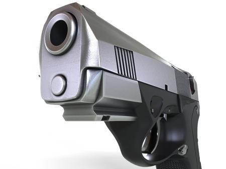 Compact semi automatic pistol - extreme closeup shot