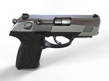 Compact semi automatic pistol - top down side view Stock Photo