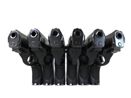 Set of modern black metal handguns