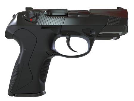 Modern semi automatic gun - black metal with black rubber hand grip - side view