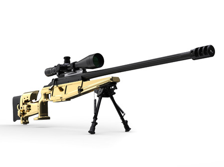 Golden modern sniper rifle - front view low angle shot