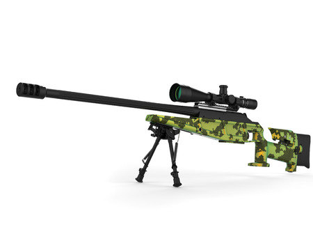 Beautiful sniper rifle with green camo paint - studio shot
