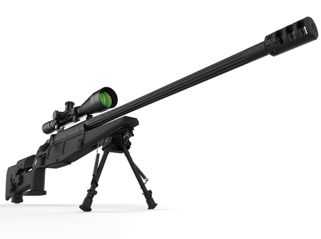 Black modern sniper rifle - beauty shot