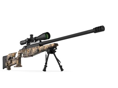 Beautiful sniper rifle with woods camo paint job