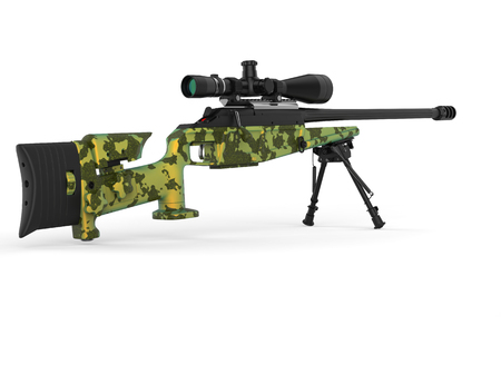 Beautiful sniper rifle with green camo paint Stock Photo