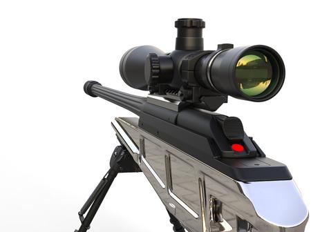 Beautiful chrome modern sniper rifle - closeup shot Stock Photo