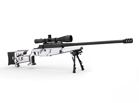 Modern silver sniper rifle - side view Stock Photo