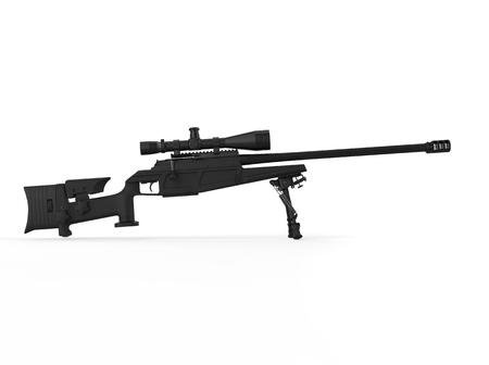 Black modern sniper rifle - side view Stock Photo