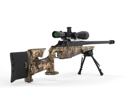 Beautiful sniper rifle with woods camo paint - back view