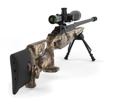 Beautiful sniper rifle with woods camo paint - rear view