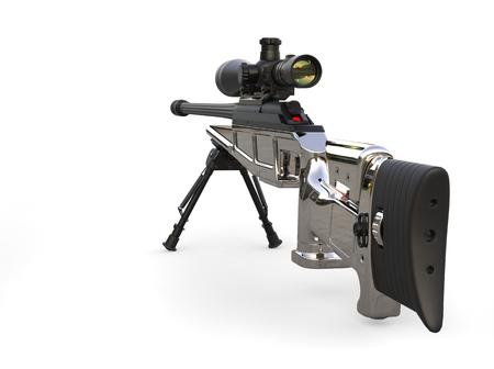 Beautiful chrome modern sniper rifle - back view