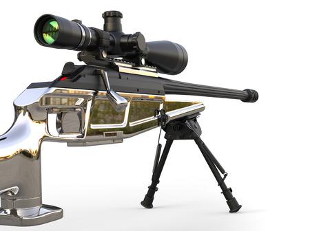 Beautiful chrome modern sniper rifle - closeup shot low angle