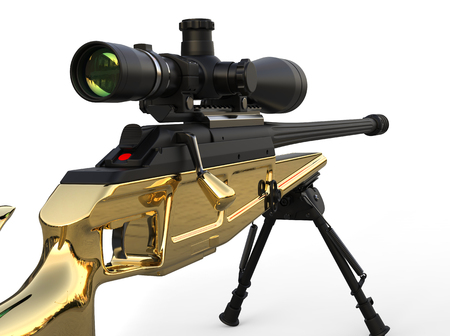 Golden modern sniper rifle - closeup shot