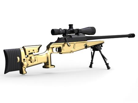 Golden modern sniper rifle - rear view Stock Photo