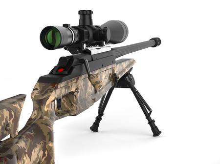 Beautiful sniper rifle with woods camo paint - rear view closeup shot Stock Photo