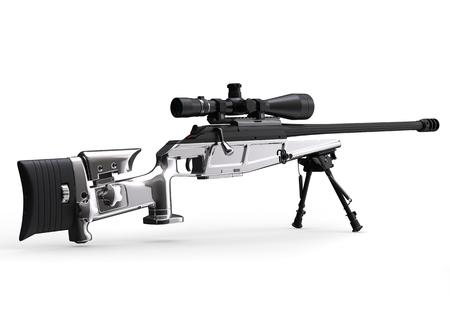 Modern silver sniper rifle