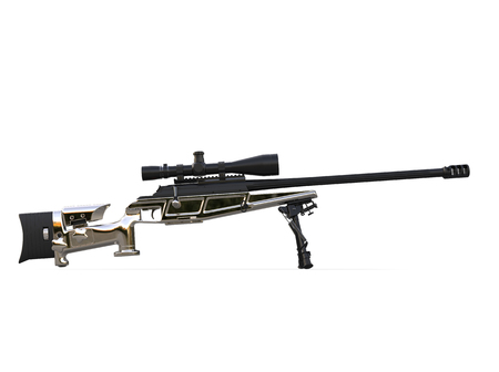 Beautiful chrome modern sniper rifle - side view Stock Photo