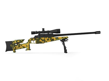 Modern sniper rifle - green camo pattern - side view